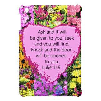 PRETTY FLORAL LUKE 11:9 SCRIPTURE DESIGN COVER FOR THE iPad MINI