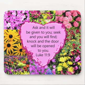 PRETTY FLORAL LUKE 11:9 SCRIPTURE DESIGN MOUSE PAD