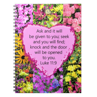 PRETTY FLORAL LUKE 11:9 SCRIPTURE DESIGN NOTEBOOK