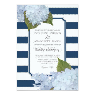 "Pretty Floral Modern Elegant Navy White Stripe 5"" X 7"" Invitation Card"