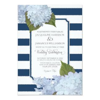 Pretty Floral Modern Elegant Navy White Stripe Card