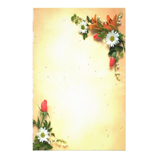 Pretty Floral Parchment Design Stationery