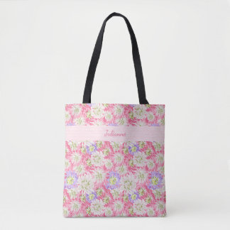Pretty floral pastel pink and mauve monogram tote bag