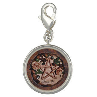Pretty Floral Pentacle Witch Wiccan Pagan Charm
