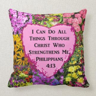 PRETTY FLORAL PHILIPPIANS 4:13 PHOTO DESIGN THROW PILLOW
