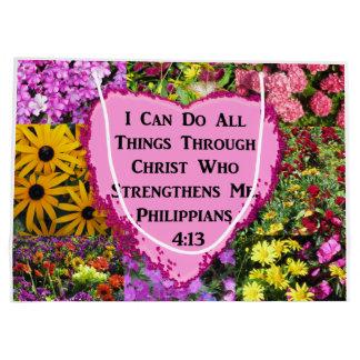 PRETTY FLORAL PHILIPPIANS 4:13 SCRIPTURE LARGE GIFT BAG