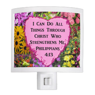 PRETTY FLORAL PHILIPPIANS 4:13 SCRIPTURE NIGHT LIGHT