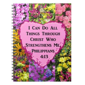 PRETTY FLORAL PHILIPPIANS 4:13 SCRIPTURE NOTEBOOK