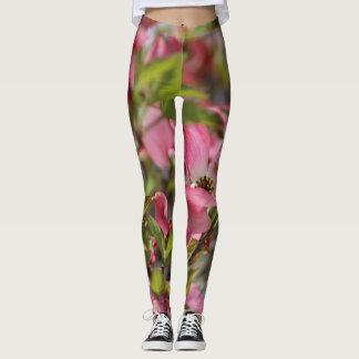 Pretty Floral Pink Dogwood Blossoms Yoga Jogging Leggings