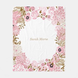 Pretty Floral Pink Flowers and DIY Text Fleece Blanket