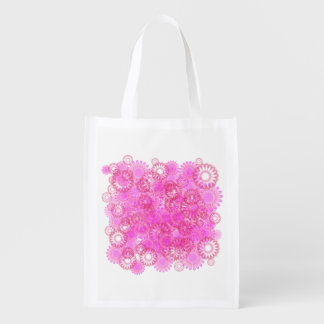 Pretty floral. reusable grocery bag