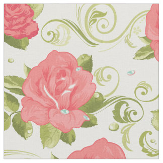 Pretty Floral Shabby Chic Pink Roses Pattern Fabric