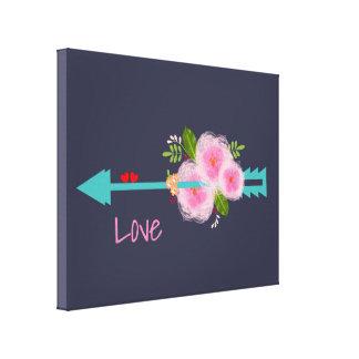 Pretty Floral Sweet Love Hearts Arrow Canvas Print