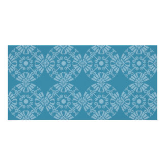 Pretty Floral Teal Pattern Photo Greeting Card
