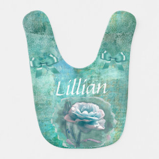 Pretty Floral Teal Personalized Baby Bib