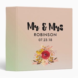 Pretty Floral Watercolor Bouquet Wedding Mr & Mrs 3 Ring Binders