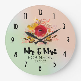 Pretty Floral Watercolor Bouquet Wedding Mr & Mrs Large Clock