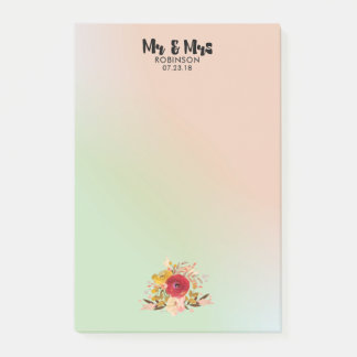 Pretty Floral Watercolor Bouquet Wedding Mr & Mrs Post-it Notes