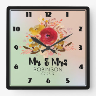 Pretty Floral Watercolor Bouquet Wedding Mr & Mrs Square Wall Clock