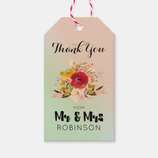 Pretty Floral Watercolor Bouquet Wedding Thank You Gift Tags