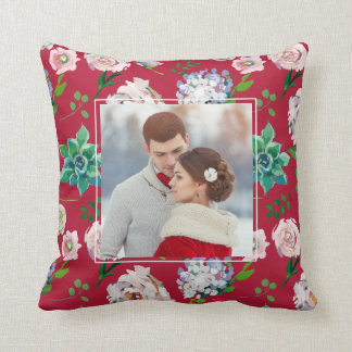 Pretty Floral with Frame Photo Pillow