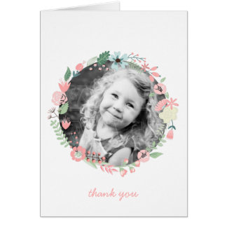 Pretty Floral Wreath Custom Photo Thank You Notes Note Card