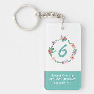 Pretty Floral Wreath Inn Room Keychain