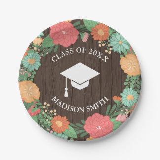 Pretty Floral Wreath & Wood Grain Graduation Paper Plate