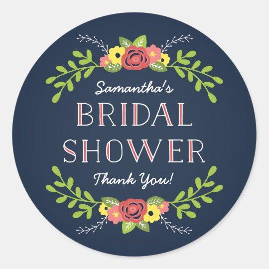 Pretty Florals | Bridal Shower Favour Classic Round Sticker