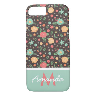 Pretty Florals Coral & Mint Monogrammed Case-Mate iPhone Case