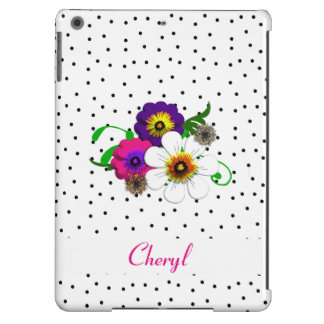 Pretty Flower And Spots Design iPad Air Covers