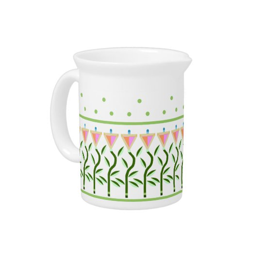 Pretty flower art border of stylised tulips pitcher