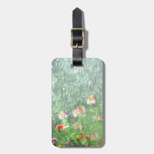 Pretty Flower Garden in Rain Green Luggage Tag