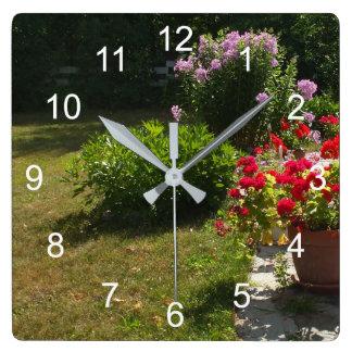 Pretty Flower Garden Square Wall Clock