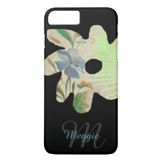 pretty flower illustration with name & initial iPhone 7 plus case