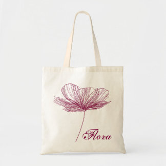 Pretty flower line drawing in purple tons tote bag