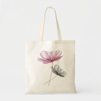 Pretty flower line drawing tote bag