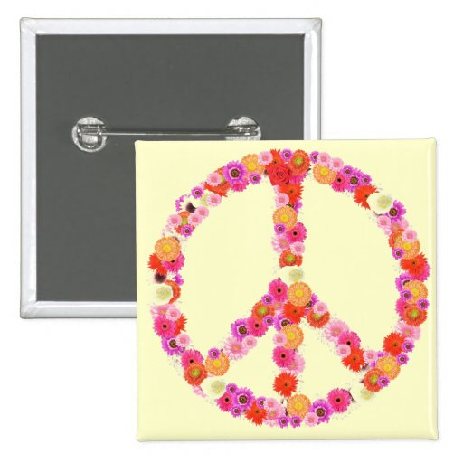 Pretty Flower Peace Sign Pinback Buttons