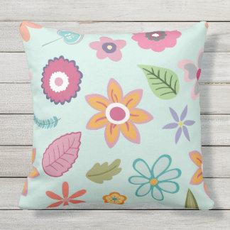 Pretty Flower Print Outdoor Pillow