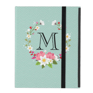 Pretty Flower Wreath Monogram Powis iPad 2,3,4 iPad Cover
