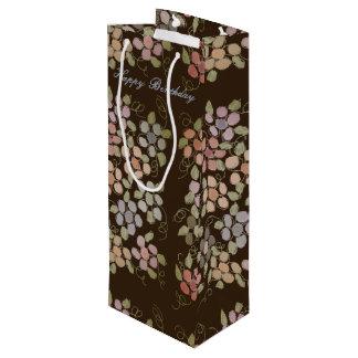 Pretty Flowered Chocolate Brown Wine Bag