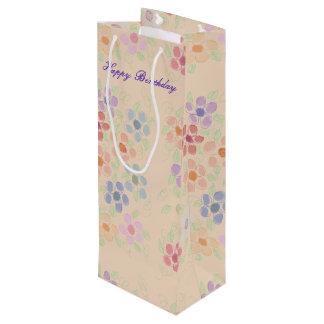 Pretty Flowered Wine Bag