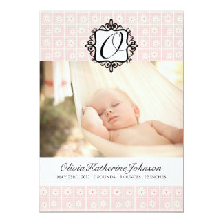 "Pretty Flowers Birth Announcement Photo card 5"" X 7"" Invitation Card"