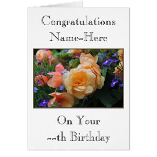 Pretty Flowers, Custom Name and Age Birthday Card. Greeting Card