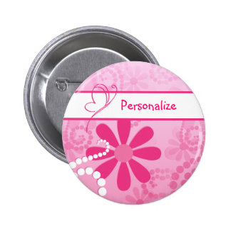 Pretty Flowers Cute Pink Retro Daisies With Name 2 Inch Round Button