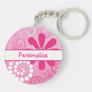 Pretty Flowers Cute Pink Retro Daisies With Name Keychain