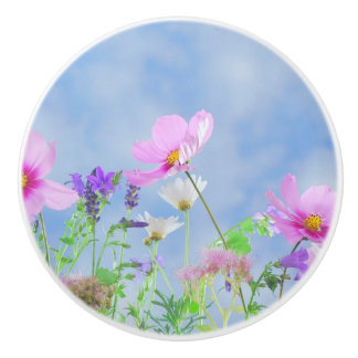 Pretty Flowers Delicate Colours Ceramic Knob