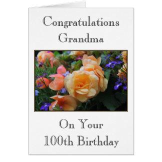 Pretty Flowers, Grandma 100th Birthday Card. Greeting Card