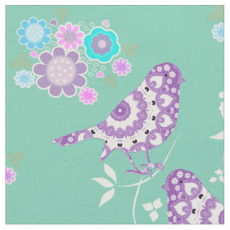 Pretty Flowers Hearts And Patterned Birds Fabric