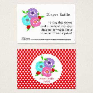 Pretty Flowers Ladybugs Cute Diaper Raffle Tickets